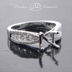 Style PDN539 Four-Prong Center Stone Semi Mount With 0.65CT Round Accent Diamonds 18K White Gold