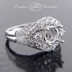 Style PDN540 Round Halo Center Semi Mount Ring With 0.75CT Round Accent Diamonds 18K White Gold