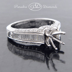 Style PDT5037 Round Center Six Prong Semi Mount With Baguettes 0.40CT And 0.50CT Round Accent Diamonds 18K White Gold