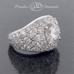 Style PDK530 - 8.21CTTW Engagement Ring With 3.01ct Center Stone in 18K White Gold