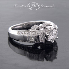 Style PDB512 - 1.03CTTW with 0.63ct Round Center Stone Art Deco Cathedral Diamond Engagement Ring With 18K White Gold