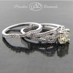 Style PDJ713 - 1.50CTTW Modern Split Shank Tapered Diamond Engagement Ring