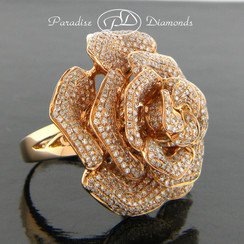 Style PDH166 3.55CT Rose Petal Micro Pave Set Diamond Ring/Pendant Single Shank 18K Rose Gold