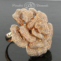 Style PDH168 Style PDH166 4.50CT Rose Petal Micro Pave Set Diamond Ring/Pendant Single Shank 18K Rose Gold