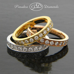 Style PDE1008 2.55CT Round Pave Set Tri-Color Diamond Bands 18K White Yellow Rose Gold