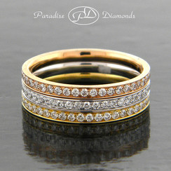 Style PDE1005 1.40CT Round Pave Set Tri-Color Diamond Bands 18K White Yellow Rose Gold