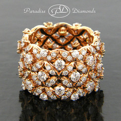 Style PDE1001 - 4.05CT Round Cluster Eternity Wide Band Ring 18K Rose Gold