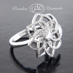 Style PDE195 - 1.10CT Round Pave Diamond Cluster Star Flower Ring 18K White Gold
