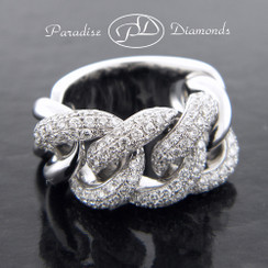 Style PDE191 - 1.80CT Round Diamond Micro Pave Chain Link Ring 18K White Gold