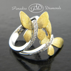 Style PDJ112 YELLOW Butterfly Bypass Right Hand Diamond Ring 14K Yellow White Gold