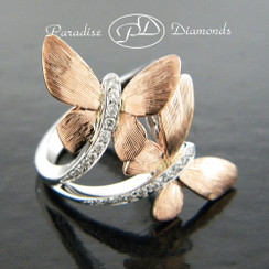 Style PDJ112 ROSE 0.45CT Butterfly Bypass Right Hand Diamond Ring 14K Rose White Gold