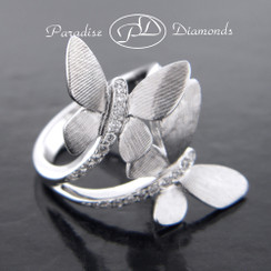 Style PDJ112 WHITE Butterfly Bypass Right Hand Diamond Ring 18K White Gold