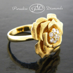 Style PDJ115 0.50CT Rose Petal Cluster Center  Diamond Ring. Solid Shank 18K Yellow Gold