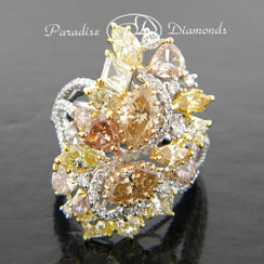 Style PDL106 - 6.55CT Natural Multi Color Collection Diamonds Ring set in Fine 18K Rose Yellow & White Gold.
