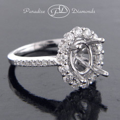 Style PDE5079 Oval Halo Center Semi Mount With 0.90CT Round Accent Diamonds 18K White Gold