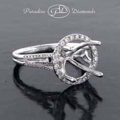 Style PDE5049 Round Halo Center Semi Mount Ring With 0.55CT Round Accent Diamonds 18K White Gold