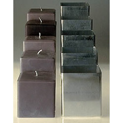 "4"" x 4"" x 4.5"" tall - Square Aluminum Pillar Candle Mold (sm-14)"