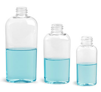 Buy Clear Plastic Tapered / Vale Oval Bottles