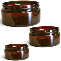 Low Profile Amber Plastic Jars