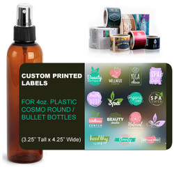 "Custom Labels for 4oz. Cosmo Round (Bullet Style) Bottles - (3.25"" Tall x 4.25"" Wide)"