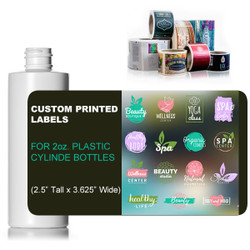 "Custom Labels for 2oz. Cylinder Style Bottles (2.5"" Tall x 3.625"" Wide)"