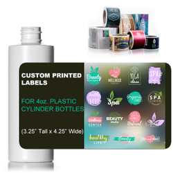 "Custom Labels for 4oz. Cylinder Style Bottles - (3.25"" Tall x 4.25"" Wide)"