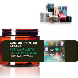 "Custom Labels for 4oz. Single Wall Jars - (1.35"" Tall x 7"" Wide)"