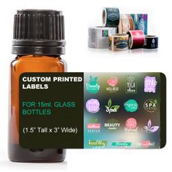 Custom Digital Labels for 15ml glass amber bottles