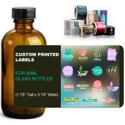 "Custom Labels for 60ml Glass Amber Bottles - (1.75"" Tall x 3.75"" Wide)"