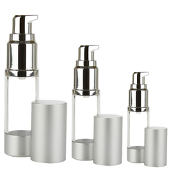 Clear Cylinder Round Airless Bottles with Aluminum Finish Treatment Pump