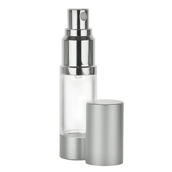 Clear Cylinder Round Airless Bottles with Aluminum Finish SPRAYER