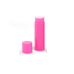 Filled and Unlabeled Pink Stick Lip Balm Tubes