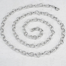 Silver Lined Ovals Necklace