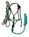 Halter and Rein Set (Turquoise, Black, White)