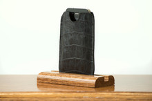 Phone Sleeve Black Bridle with Black Gator