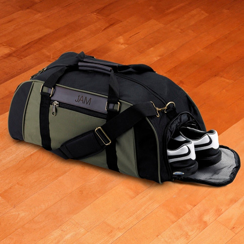Personalized Logan Deluxe Duffle Bag showing open Shoe Compartment