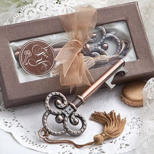 2 Vintage Key Bottle Opener Favors with Tassel with 1 open and 1 in it's box