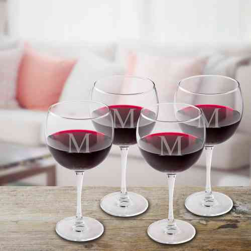 Set Of 4 Personalized Red Wine Glasses Unique Gifts By Lucy