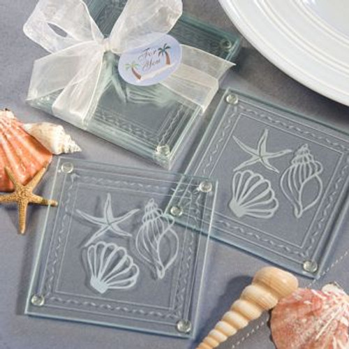 2 Beach Themed Glass Coaster Favors Opened and Boxed