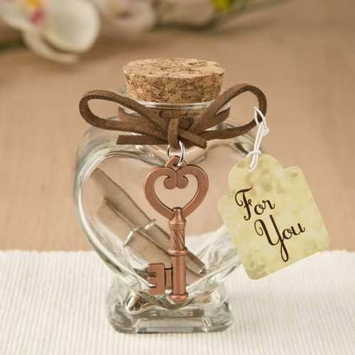 Glass Heart Message Jar with Key Accent Favor