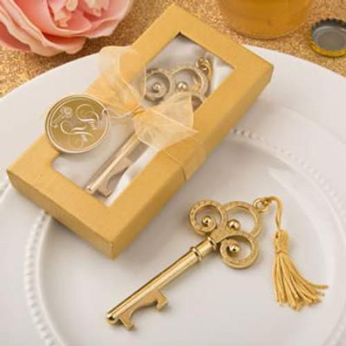 Gold Vintage Skeleton Key Bottle Opener Favor