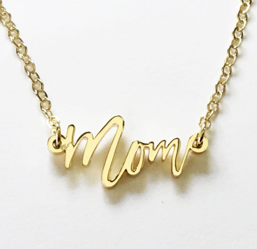 Close up of 18K Gold Plated 'Mom' Necklace