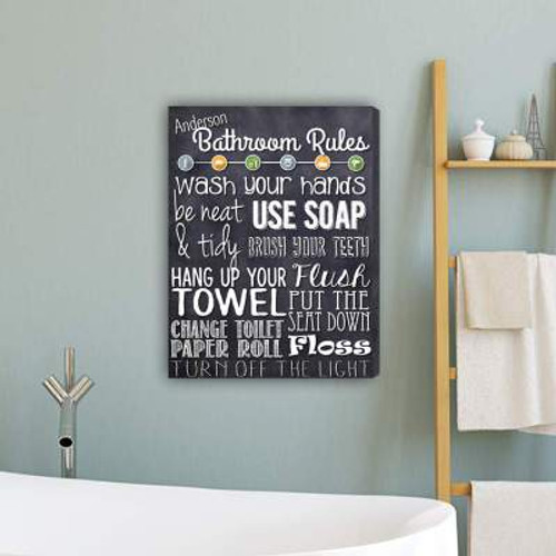 Personalized 'Bathroom Rules' Canvas Print