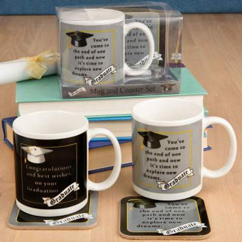 3 Boxed Grad Mug and Coaster Sets showing the 2 Designs with 1 Design in Background