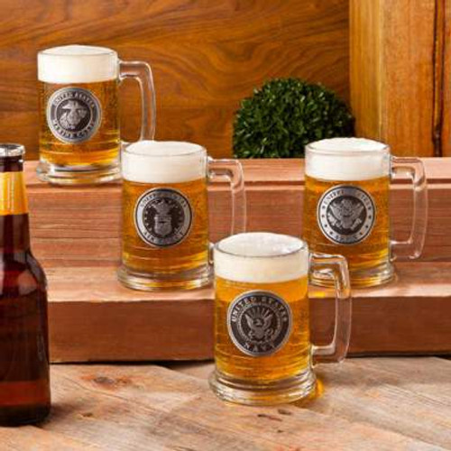 4 Beer Steins showing United States Military Emblems of Army, Navy, Air Force and Marine Corps