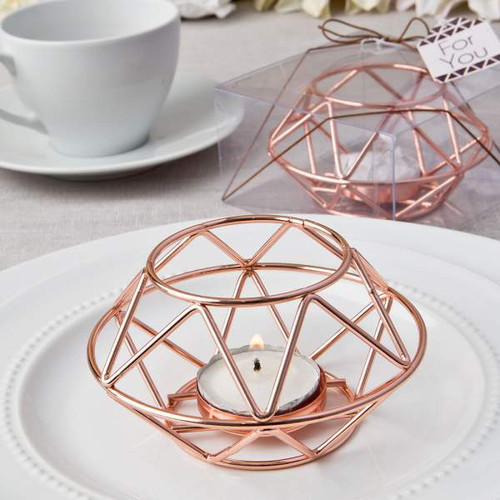 2 Geometric Design Rose Gold Metal Tealight Candle Holders with one in gift box