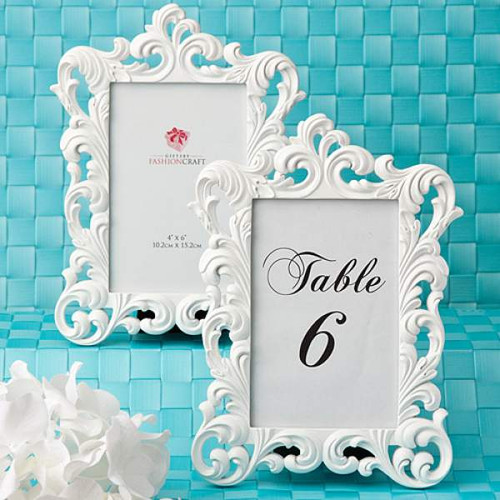 2 White Baroque Frame Table Number Holders 9 Inch x 6.5 Inch