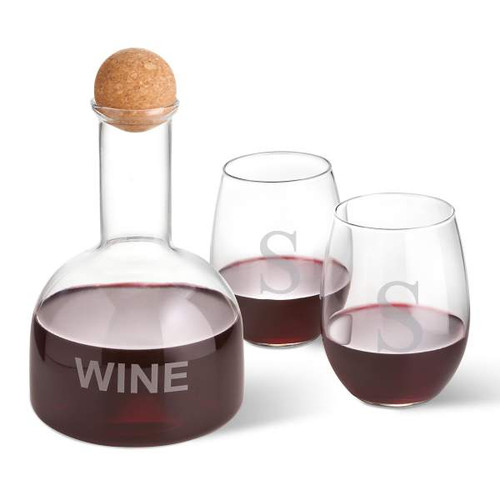 Wine Decanter and 2 Custom Stemless Wine Glasses with Single Initial
