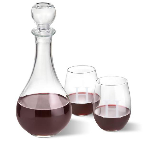 Italian Decanter with 2 Customized Stemless Wine Glasses Set with Single Initial
