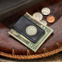 Personalized Genuine Black Leather Magnetic Money Clip